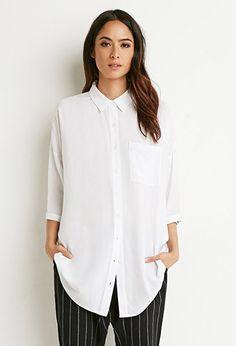 Boxy Longline Shirt | Forever 21 - 2000183453