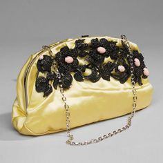 Valentino Yellow Silk Clutch $1,396.80