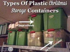 Types of plastic Christmas storage containers, including both see through and opaque, for holiding holiday decorations {on Home Storage Solutions