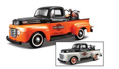 1948 Ford F1 Pickup with Harley-Davidson Motorcycle - Orange and Grey 2 Assorted