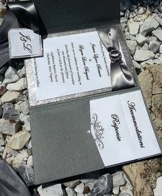 Jessica: charcoal gray silver and white bling glitter sparkly pocket fold wedding invitation suite with Rhinestone buckle brooch slider fall
