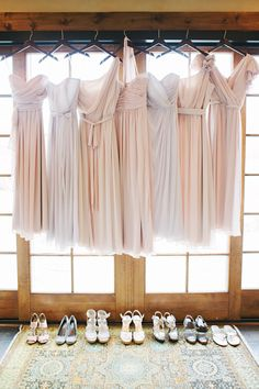 Lovely blush pink color palette for #bridesmaids   See the ladies on SMP Weddings - http://www.StyleMePretty.com/2013/12/11/romantic-colorado-wedding-at-devils-thumb-ranch/  Tess Pace Photography