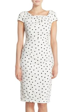 Adrianna Papell Polka Dot Crepe Sheath Dress available at #Nordstrom