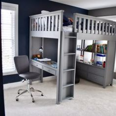 35 Amazingly Pretty Shabby Chic Bedroom Design and Decor Ideas - The Trending House Boys Loft Beds, Loft Beds For Teens, Loft Bunk Beds, Kid Beds, Beds For Boys, Bed For Kids, Full Bed Loft, Loft Bed Plans, Bunk Bed With Desk