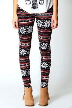 Sophie Fairisle Print Brushed Knit Leggings at boohoo.com