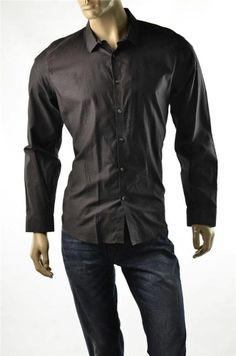 Calvin Klein Shirt Mens Black Slim Fit Button-up Dress Shirts Sz L Large NWT #CalvinKlein #ButtonFront #5Gables