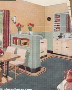 Kitchen Decor Inspiration: Johns-Manville Asbestos Flexboard, Johns-Manville Co. From the Association for Preservation Technology (APT) – Building Technology Heritage Library, an online archive of period architectural trade catalogs. 1930s Kitchen, Vintage Kitchen, Retro Kitchen Decor, Kitchen Layout, Vintage Decor, Retro Vintage, 1940s Decor, Kitchen Images, Estilo Retro