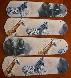 African Safari Elephant Ceiling Fan Blades Only Kids Ceiling Fans, Ceiling Fan Blades, African Safari, Playroom, Kids Room, Elephant, Pure Products, Crafts, Room Decor