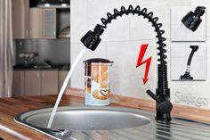 Niederdruck Spültisch Küchen Armatur schönes Design 2 Strahlarten Schwarz Sanlingo