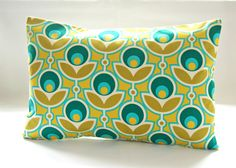 turquoise blue mustard yellow green retro decorative pillow cover, flowers and leaves lumbar cushion cover 12 x 18 inch by LittleJoobieBoo on Etsy https://www.etsy.com/listing/180990341/turquoise-blue-mustard-yellow-green