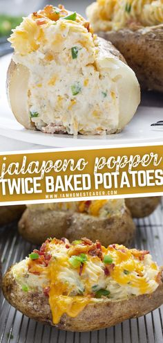 Stuffed Baked Potatoes, Loaded Baked Potatoes, Healthy Thanksgiving Recipes, Thanksgiving Side Dishes, Butter Shrimp, Garlic Butter, Jalapeno Poppers Baked, Baked Potato Recipes, Potato Sides