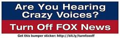 Funny Political Bumper Stickers: Are You Hearing Crazy Voices? Turn Off Fox News