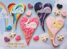 """1,172 Likes, 71 Comments - Natalia Campbell (@cookielicious_nz) on Instagram: """"My Little Pony heart cookies  Which one is your fave? Mine is Fluttershy, she is so purtyyy!…"""""""
