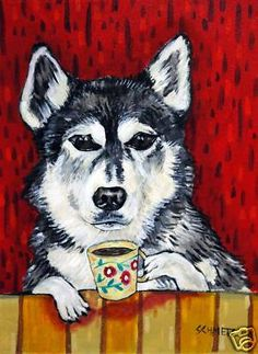 husky at the coffee shop dog art print 11x14