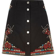 Embellished detail Festival style Button-up front Belt loops New Outfits, Fall Outfits, Summer Outfits, Summer Clothes, Short Skirts, Mini Skirts, River Island Skirts, Festival Skirts, Embellished Skirt