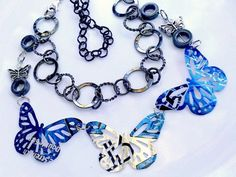 recycled jewelry | ... Recycle Soda Can Jewelry Butterfly Necklace Tin Can Pop Can Art Eco