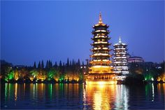 The Sun and Moon Pagodas in Guilin, China.