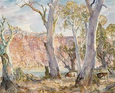Hans Heysen - Gums and Cliffs, Murray River, 1960 Watercolor Landscape, Landscape Art, Landscape Paintings, Landscape Photography, Watercolor Paintings, Tree Paintings, Australian Painting, Australian Artists, Long Painting