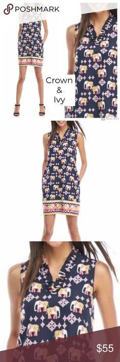 c17fd146c99a Crown & Ivy Navy Elephant Print Shift Dress 2 NWT CROWN & IVY  women's