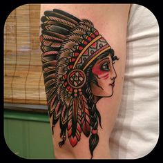 Paul Dobleman - girl with headdress tattoo { Indian tattoo for aunt Jenny}