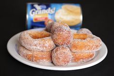 Easy sugared doughnuts using Pillsbury biscuit dough ~ Promise, this works. Try the homestyle ones. Buttermilk is a little salty. I don't even cut holes in the middle. Just make a hole with your fingers and separate into a ring. Pillsbury bread stick dough works.  Try frozen bread or roll dough too.  #FatTuesday