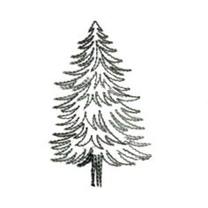 Needle Passion Embroidery Embroidery Design: Pine tree outline 3.11 inches H x 1.93 inches W