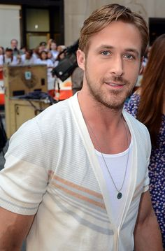 Ryan Gosling wearing a Salvatore Ferragamo cardigan. #fashion