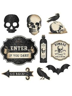 Boneyard Glitter Cut-Outs decoration will add eerie elegance to your Halloween party décor. Paper cut-outs have been treated with glitter and feature, skulls, crows, bats and more. Includes 9 boneyard cut-outs. Skeleton Decorations, Vintage Halloween Decorations, Halloween Party Decor, Halloween Crafts, Halloween Cut Outs, Fall Halloween, Happy Halloween, Halloween Pumpkins, Halloween Potion Bottles