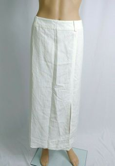 576bd1270 NWT Evan Picone White Maxi Skirt SZ 20W A-line Riding Linen Minimalist  Spring #