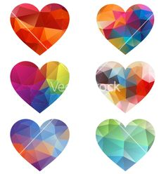 Colorful hearts with geometric pattern vector - by amourfou on VectorStock®