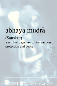 Abhaya Mudra is a symbolic gesture of fearlessness, protection, and peace.  A gesture of reassurance and safety, which dispels fear and accords divine protection and bliss. Click link to visit our designs that are created showing Abhaya mudra.#abayamudra #words #budha