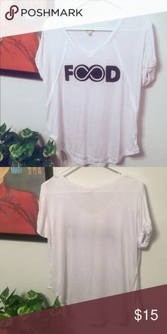 """""""Food"""" tee☺️ Super cute, soft and flattering tee.  Worn once and in great condition and rolled sleeves. Ten Sixty Sherman Tops Tees - Short Sleeve"""