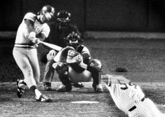 George Brett of the Kansas City Royals hits a threerun homerun against pitcher Goose Gossage of the New York Yankees as catcher Rich Cerone and. Bull Durham, Threes Game, American League, Kansas City Royals, Upper Deck, New York Yankees, Running, Concert, Catcher