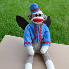 #WizardofOzSockMonkey Flying Sock Monkey Doll Wizard of Oz by MarysMonkeys on Etsy