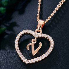 Best Seller Romantic Love Pendant Necklace For Girls 2019 Women Rhinestone Initial Letter Necklace Alphabet Gold Collars Trendy New Charms Letter Pendant Necklace, Letter Pendants, Love Necklace, Chain Pendants, Necklace Charm, Diy Jewelry Gifts, Girls Necklaces, Initial Necklaces, Jewelry Necklaces