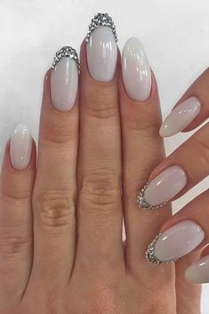 wedding nails trends white long with rhinestones glebova.m.e