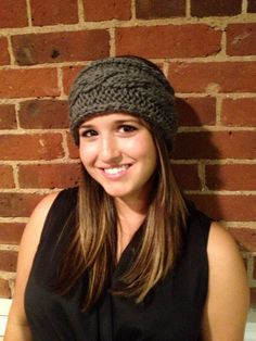 Gray Cable Knit Headband by ALLEarsHeadbands on Etsy