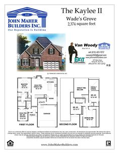 Floor plan of the Kaylee model by John Maher Builders. Homes are built in Wades Grove in Spring Hill TN. Contact Van Woody of John Maher Builders & Exit Realty King. Business 615-302-3213 or direct at 615-403-7072