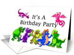 Birthday Party Invitation with Dragons card