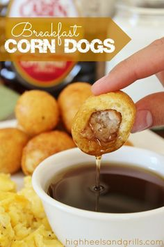 Breakfast Corn Dogs. Sausage covered in a pancake-like batter. Pure breakfast perfection. #breakfast http://www.highheelsandgrills.com/2013/04/breakfast-corn-dogs.html -- Make this recipe with your favorite Johnsonville Breakfast Sausage Link.