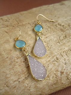 Druzy Earrings  Druzy  Drusy Quartz  Amethyst by julianneblumlo, $135.00