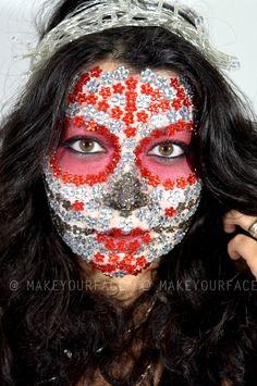 See the Sugar Skull makeup tutorial http://youtu.be/IJkw0d2ZQTI