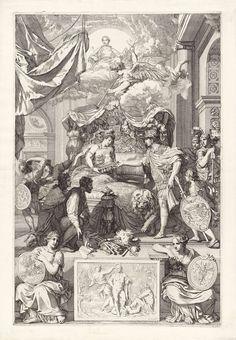 Gerard de Lairesse | Allegorie op het herstel van de ware godsdienst in Engeland met de komst van de prins van Oranje, 1688, Gerard de Lairesse, 1688 | Allegorie op het herstel van de ware godsdienst in Engeland met de komst van de prins van Oranje, 1688. Een Romeins veldheer, Willem III, overhandigt een verzegelde bijbel aan de in bed gelegen Engelse Maagd. Willem III wordt vergezeld door de Hollandse Leeuw, aan het voeteneind knielen de Engelse lord en burger. In de lucht vliegt de engel…