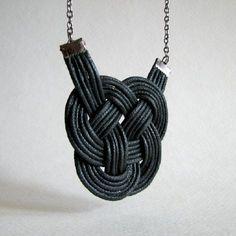 Black Leather Knot Tamé #jewelry #necklace #Tamé $33