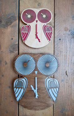 Modern wall Clock Big Twiggy Owl by pedromealha on Etsy
