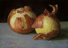 'Two onions' - Youqing (Eugene) Wang | original small work | painting a day painterly realism