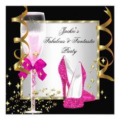 Hot Pink Black Silver Womens Birthday Party Personalized Invitations Invitations by Zizzago.com