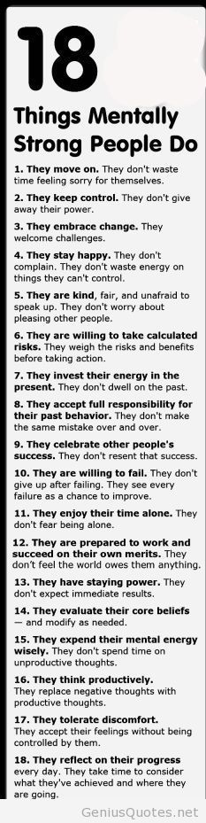 18 things mentally strong people do list...needed this
