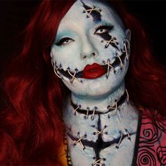 How to be Sally from the Nightmare Before Christmas for Halloween Creepy Halloween Makeup, Amazing Halloween Makeup, Halloween Contacts, Creepy Makeup, Horror Makeup, Awesome Makeup, Unique Makeup, Creative Makeup, Sfx Makeup