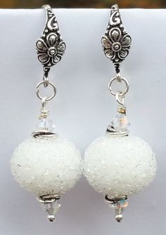 A Pair of Frozen White Christmas Hanukkah Winter Snowball Sugar Lampwork Beaded Earrings * Unbelievable product right here! Christmas Hanukkah, White Christmas, Beaded Earrings, Pearl Earrings, Drop Earrings, Handmade Items, Handmade Gifts, Snowball, Lampwork Beads